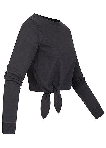 ONLY Damen Cropped Pullover Schnürdetail seitlich schwarz