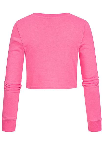 ONLY Damen Cropped Pullover Schnürdetail seitlich ibis dunkel pink