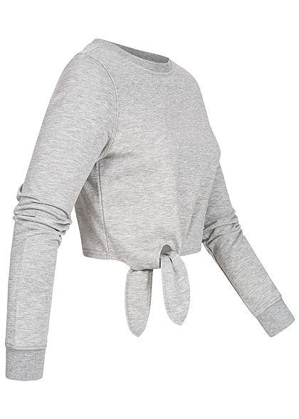 ONLY Damen Cropped Pullover Schnürdetail seitlich hell grau melange