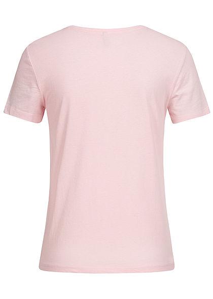 ONLY Damen T-Shirt Ballerina Stitch Stickerei ballet slipper rosa weiss