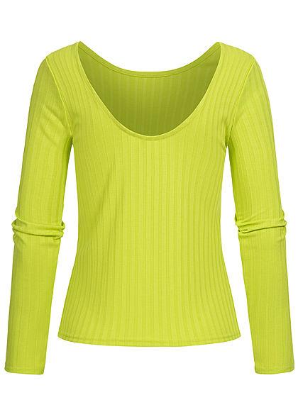 ONLY Damen Struktur Longsleeve tiefer Rückenausschnitt lime punch grün