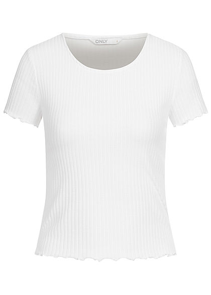 ONLY Damen NOOS Ribbed T-Shirt mit Frilldetails weiss