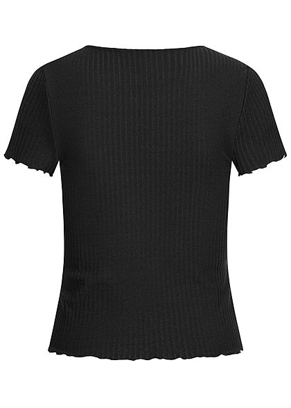 ONLY Damen NOOS Ribbed T-Shirt mit Frilldetails schwarz