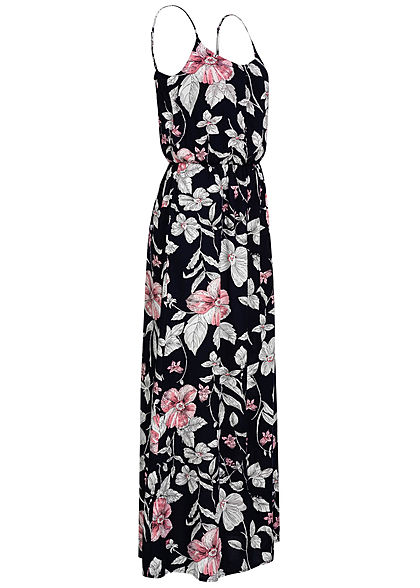 ONLY Damen Maxi Kleid Florales Muster night sky blau weiss rosa