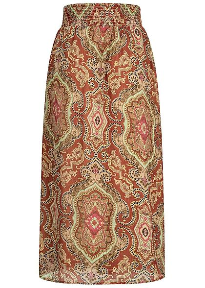 ONLY Damen Ankle Rock 2-lagig hoher Bund Paisley Muster hot sauce rot