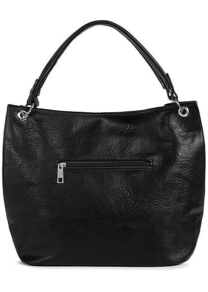Styleboom Fashion Damen Kunstleder Handtasche 43x30cm Zipper schwarz