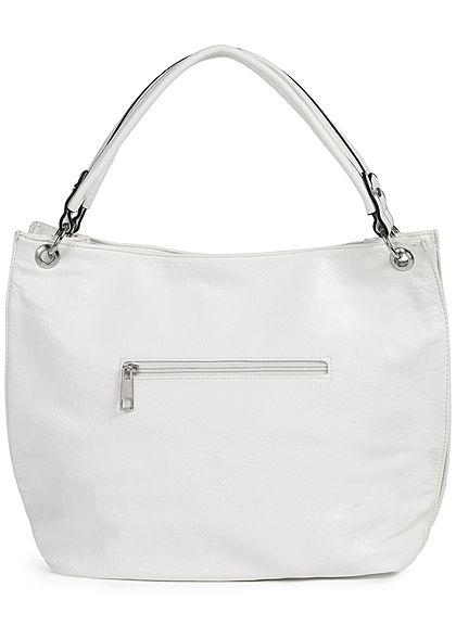 Styleboom Fashion Damen Kunstleder Handtasche 43x30cm Zipper weiss