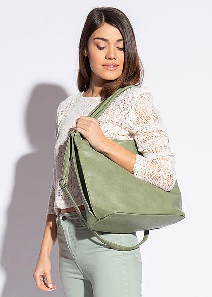 Styleboom Fashion Damen Kunstleder Handtasche 43x30cm Zipper grün