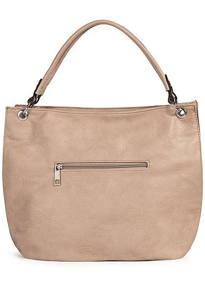 Styleboom Fashion Damen Kunstleder Handtasche 43x30cm Zipper apricot beige