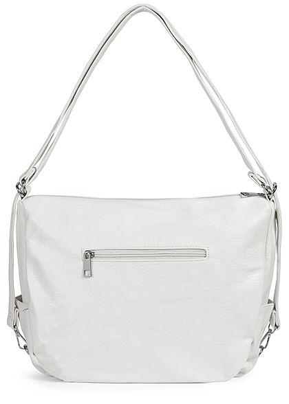 Styleboom Fashion Damen Kunstleder Handtasche 43x32cm 3-Zip-Pockets weiss