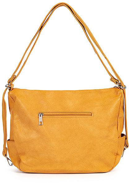 Styleboom Fashion Damen Kunstleder Handtasche 43x32cm 3-Zip-Pockets senf gelb