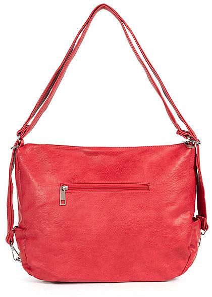 Styleboom Fashion Damen Kunstleder Handtasche 43x32cm 3-Zip-Pockets rot