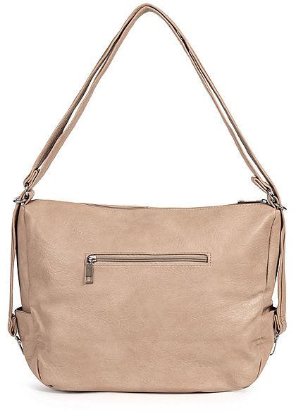 Styleboom Fashion Damen Kunstleder Handtasche 43x32cm 3-Zip-Pockets apricot beige