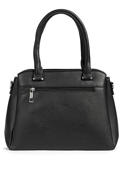 Styleboom Fashion Damen Kunstleder Handtasche 40x25cm Frontpocket schwarz