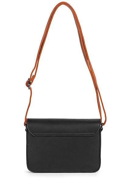 Styleboom Fashion Damen Kunstleder Mini Handtasche 23x15cm schwarz