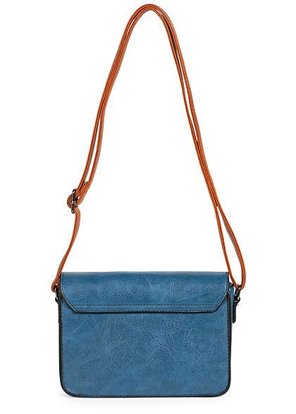 Styleboom Fashion Damen Kunstleder Mini Handtasche 23x15cm blau