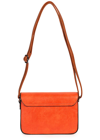 Styleboom Fashion Damen Kunstleder Mini Handtasche 23x15cm orange