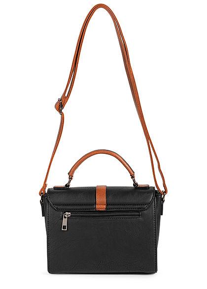 Styleboom Fashion Damen Kunstleder Mini Handtasche 22x17cm schwarz