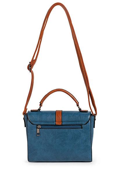 Styleboom Fashion Damen Kunstleder Mini Handtasche 22x17cm blau
