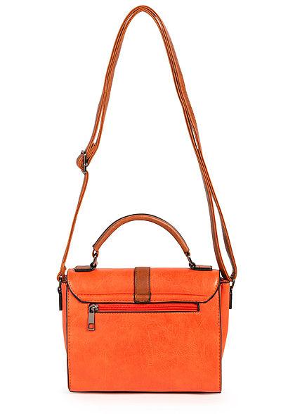 Styleboom Fashion Damen Kunstleder Mini Handtasche 22x17cm orange