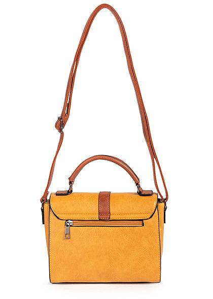 Styleboom Fashion Damen Kunstleder Mini Handtasche 22x17cm gelb