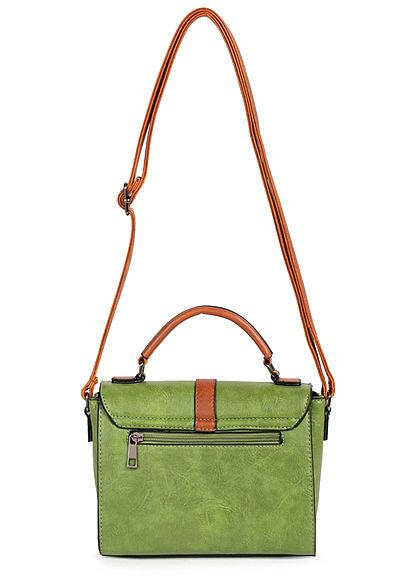 Styleboom Fashion Damen Kunstleder Mini Handtasche 22x17cm grün