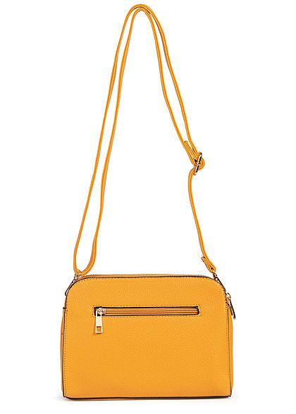 Styleboom Fashion Damen Kunstleder Mini Handtasche 25x13cm 3-Pockets gelb
