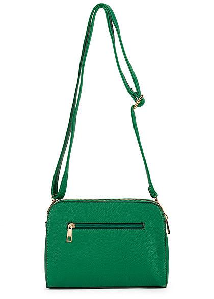 Styleboom Fashion Damen Kunstleder Mini Handtasche 25x13cm 3-Pockets grün