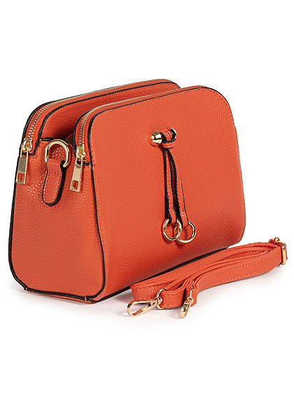 Styleboom Fashion Damen Kunstleder Mini Handtasche 25x13cm 3-Pockets orange