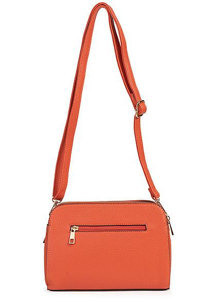 Styleboom Fashion Damen Kunstleder Mini Handtasche 25x13cm 3-Pockets orange