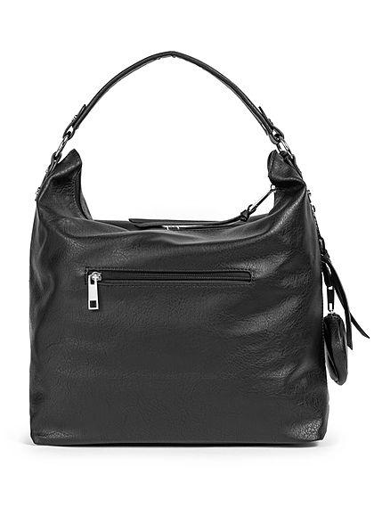 Styleboom Fashion Damen Kunstleder Handtasche 36x33cm Stitches schwarz