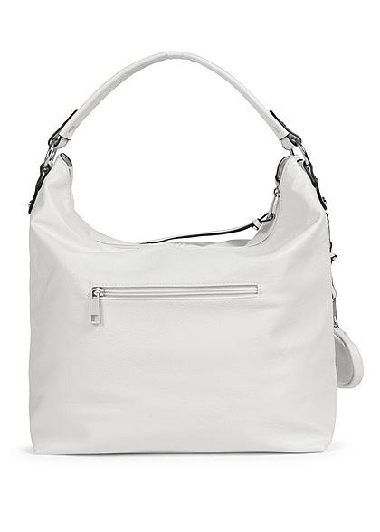 Styleboom Fashion Damen Kunstleder Handtasche 36x33cm Stitches weiss