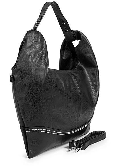Styleboom Fashion Damen Kunstleder Handtasche 48x32cm Stitches schwarz