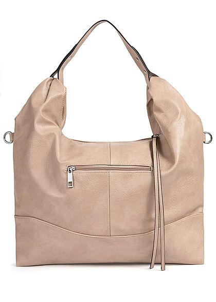 Styleboom Fashion Damen Kunstleder Handtasche 48x32cm Stitches apricot beige