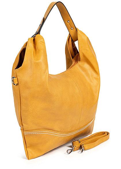 Styleboom Fashion Damen Kunstleder Handtasche 48x32cm Stitches gelb