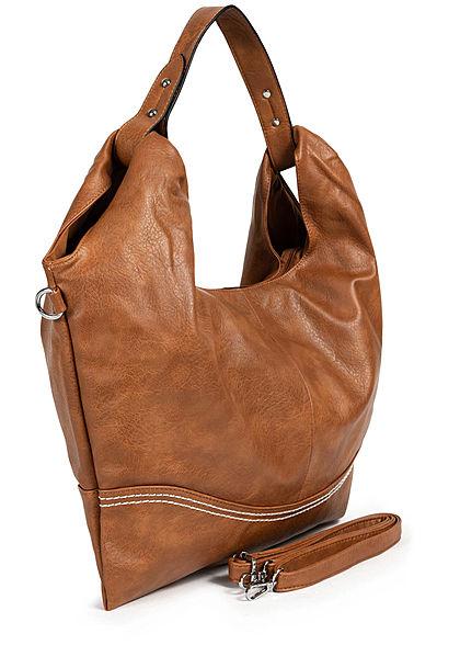 Styleboom Fashion Damen Kunstleder Handtasche 48x32cm Stitches braun