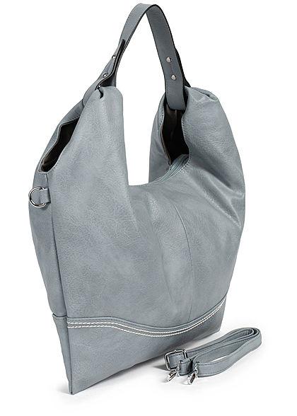 Styleboom Fashion Damen Kunstleder Handtasche 48x32cm Stitches blau