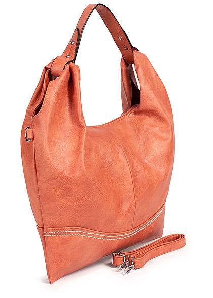 Styleboom Fashion Damen Kunstleder Handtasche 48x32cm Stitches orange