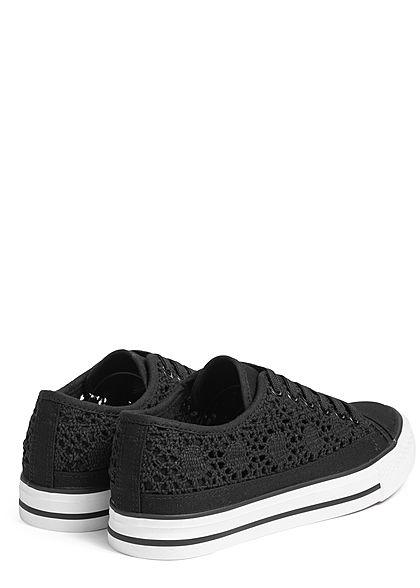 Hailys Damen Schuh Canvas Sneaker Häkel-Optik schwarz