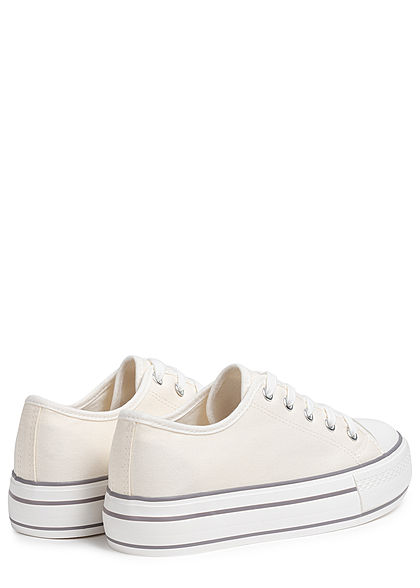 Hailys Damen Schuh Canvas Sneaker hohe Sohle 4cm weiss