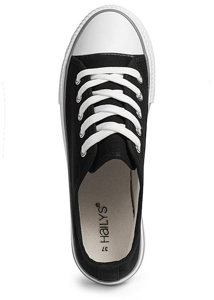 Hailys Damen Schuh Canvas Sneaker hohe Sohle 4cm schwarz