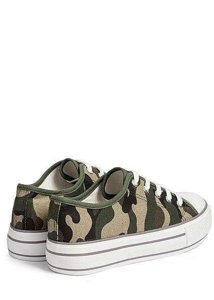 Hailys Damen Schuh Canvas Sneaker hohe Sohle 4cm camouflage