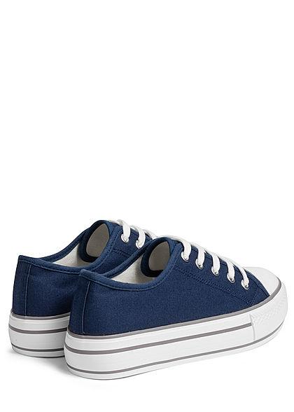 Hailys Damen Schuh Canvas Sneaker hohe Sohle 4cm navy blau