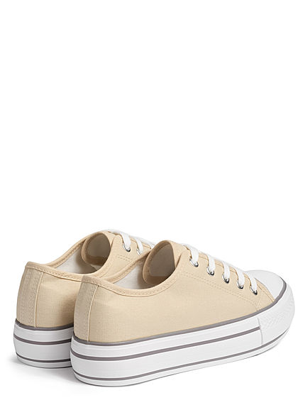 Hailys Damen Schuh Canvas Sneaker hohe Sohle 4cm beige