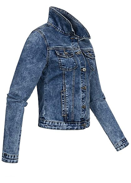 Hailys Damen Jeans Jacke 4-Pockets Knopfleiste blau denim