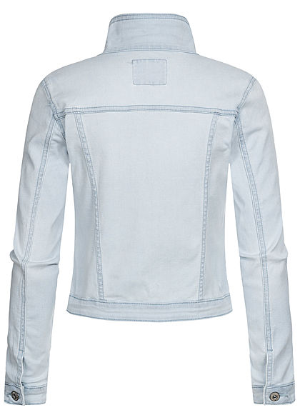 Seventyseven Lifestyle Damen kurze Jeans Jacke Knopfleiste 4-Pockets hell blau