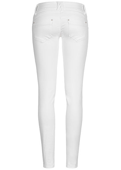 Hailys Damen Skinny Jeans Hose 5-Pockets Low Waist weiss denim