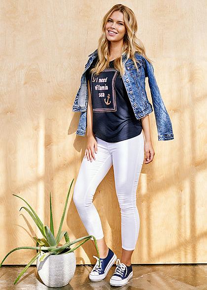 Hailys Damen High-Waist Pushup Skinny Jeggings Jeans Hose 2-Pockets weiss denim
