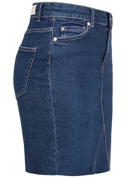ONLY Damen Mini Jeans Rock 5-Pockets leichte Fransen medium blau denim