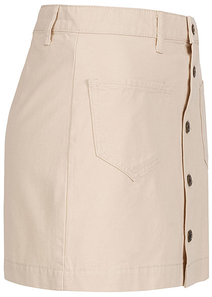 ONLY Damen High-Waist Canvas Mini Rock 2-Pockets whitecap gray beige